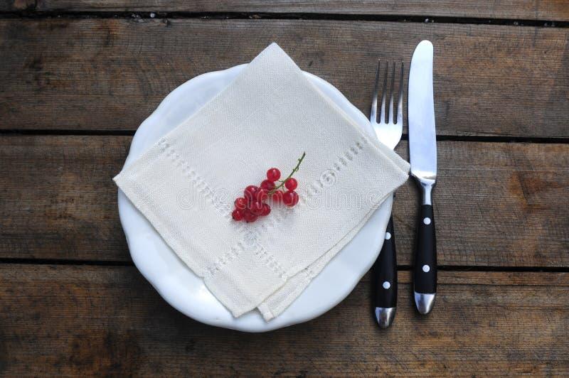 Aperitivo de la pasa roja en la tabla del jardín imagenes de archivo