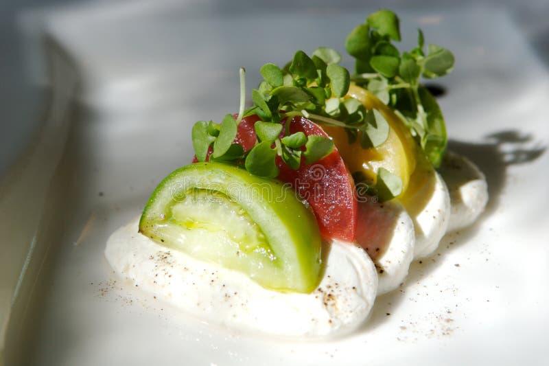 Aperitivo gastrónomo del tomate y del queso imagenes de archivo