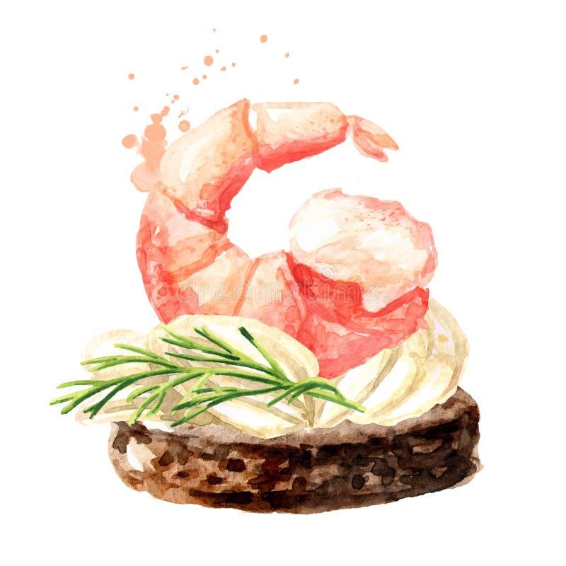 Aperitivo para una tabla festiva Mini canape con crema y camarón Ejemplo dibujado mano de la acuarela aislado en el fondo blanco libre illustration