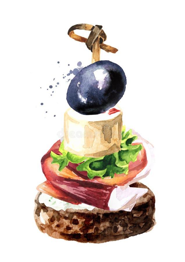 Aperitivo para una tabla festiva Mini canape con el hamon, el queso cremoso y la aceituna Ejemplo exhausto de la mano de la acuar ilustración del vector