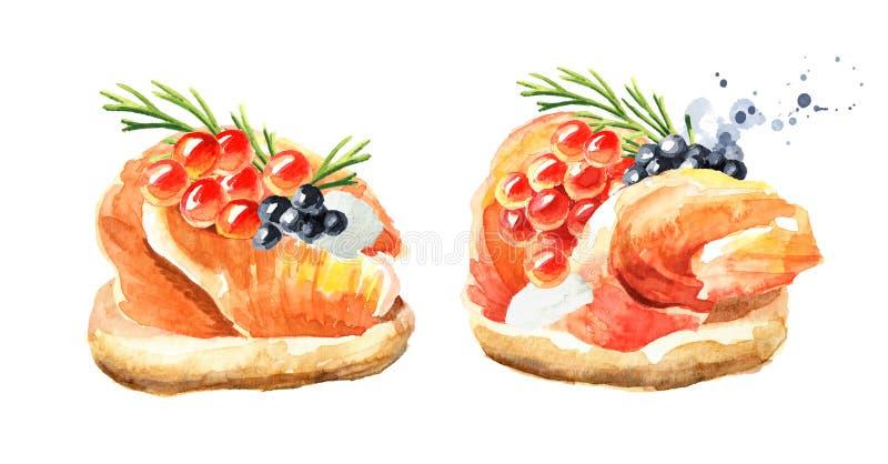 Aperitivo para una tabla festiva Mini canape con el prendedero y el caviar de color salmón smocked Ejemplo exhausto de la mano de libre illustration