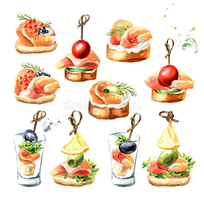 Aperitivo para una tabla festiva Mini canape con el sistema de color salmón fresco del prendedero Ejemplo exhausto de la mano de  stock de ilustración
