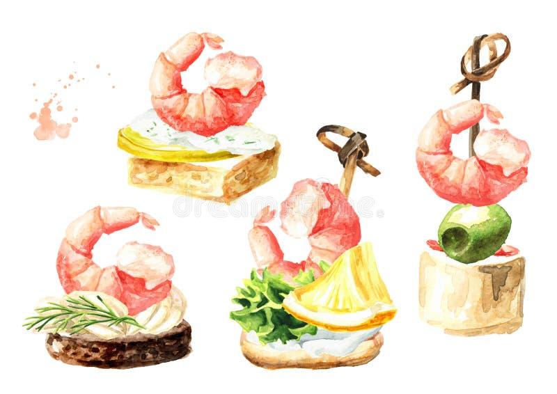 Aperitivo para una tabla festiva Mini canape con el sistema de los camarones Ejemplo dibujado mano de la acuarela aislado en el f stock de ilustración
