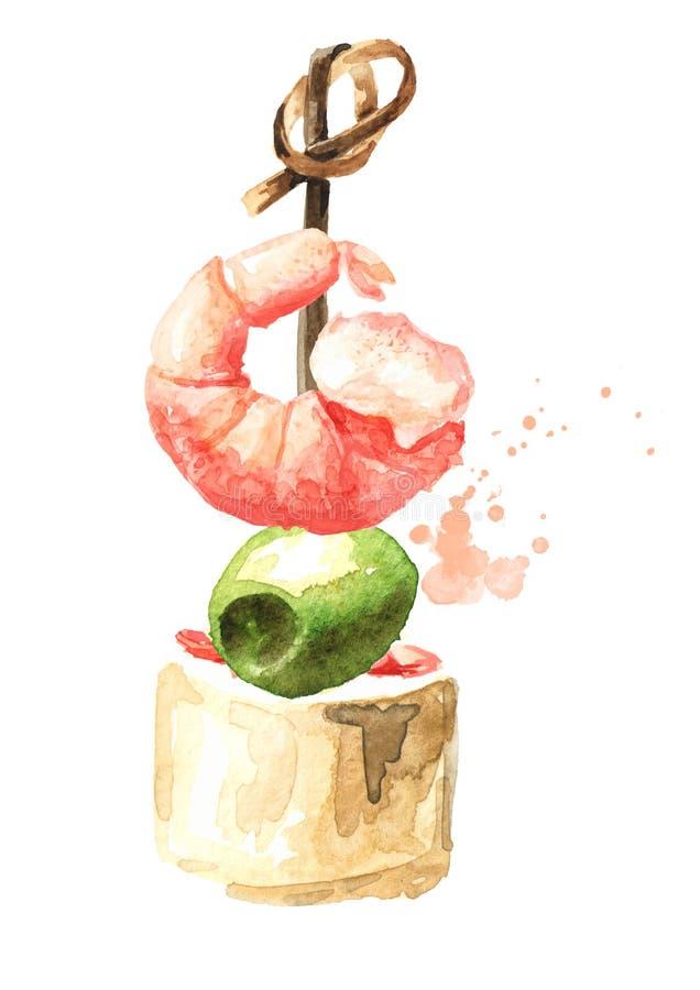 Aperitivo para una tabla festiva Mini canape con queso, aceituna y camarón cremosos Ejemplo exhausto de la mano de la acuarela ai libre illustration