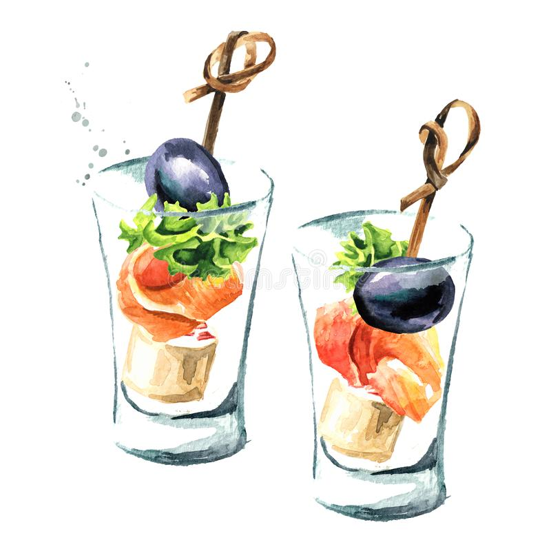Aperitivo para una tabla festiva Mini canape con queso cremoso y el prendedero de color salmón fresco ejemplo dibujado mano de la ilustración del vector