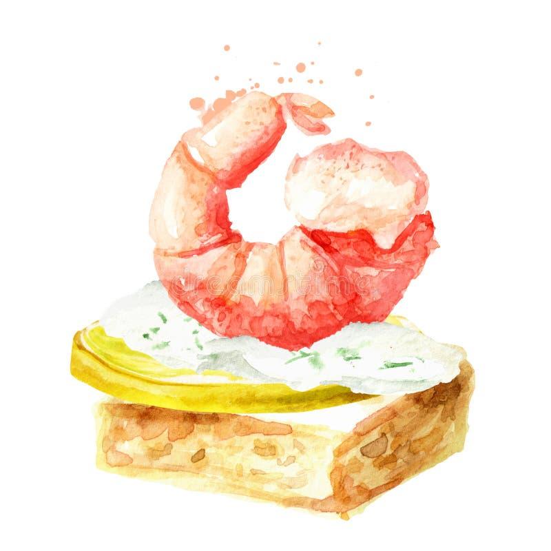 Aperitivo para una tabla festiva Mini canape del baguette, de la crema, de la rebanada de limón y del camarón Ejemplo dibujado ma ilustración del vector