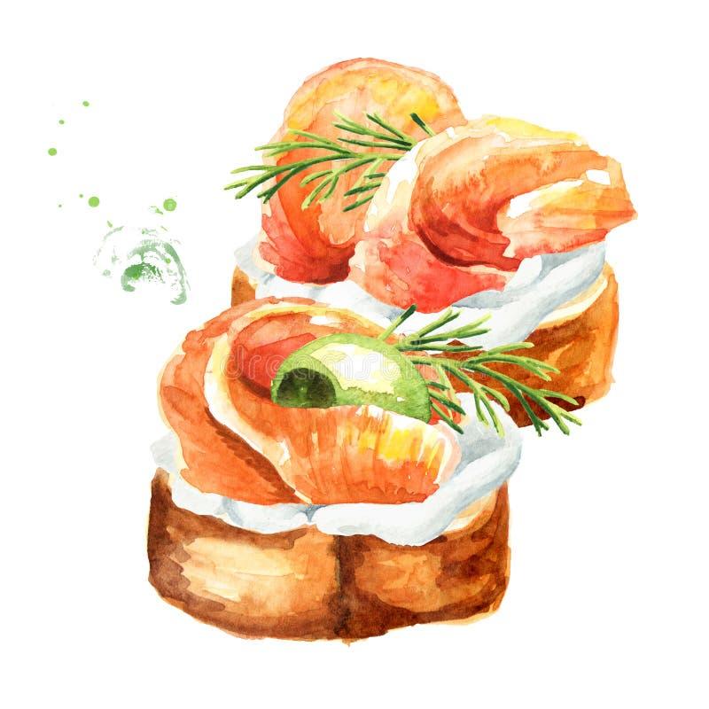 Aperitivo para una tabla festiva Mini canape del baguette, de la crema y del prendedero de color salmón fresco Ejemplo dibujado m libre illustration