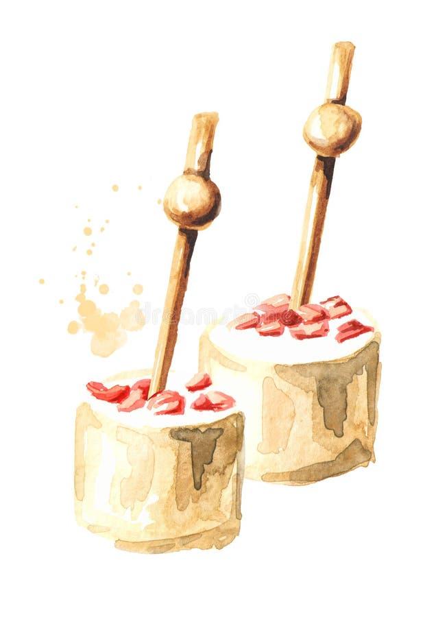Aperitivo para una tabla festiva Mini canape Queso cremoso en el pincho Ejemplo exhausto de la mano de la acuarela aislado en bla libre illustration