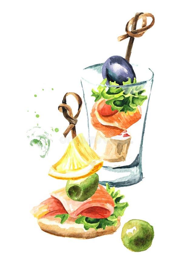 Aperitivo para una tabla festiva Mini canapes con el prendedero de color salmón Ejemplo dibujado mano de la acuarela aislado en e libre illustration