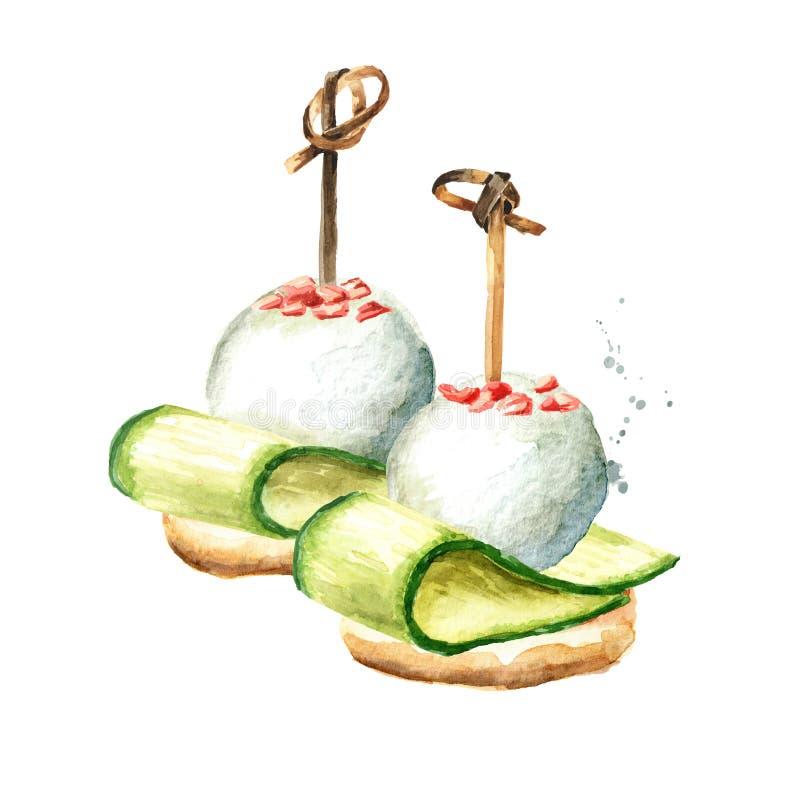 Aperitivo para una tabla festiva Mini canapes del baguette, de la rebanada fina de pepino y del queso suave Mano de la acuarela d ilustración del vector