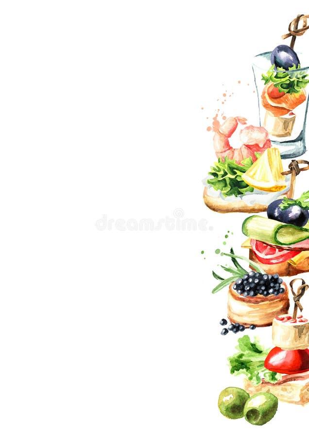 Aperitivo para una tabla festiva Mini plantilla del canape Ejemplo dibujado mano de la acuarela aislado en el fondo blanco stock de ilustración