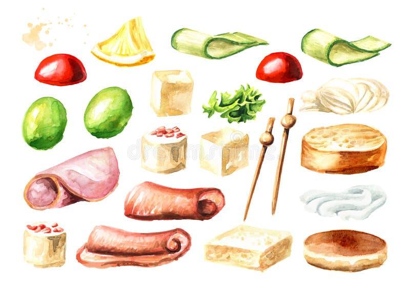 Aperitivo para una tabla festiva Mini sistema de los ingredientes del canape Ejemplo dibujado mano de la acuarela aislado en el f stock de ilustración