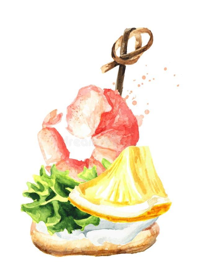 Aperitivo per una tavola festiva Mini canape con crema, fetta di limone e gamberetto Illustrazione disegnata a mano dell'acquerel royalty illustrazione gratis