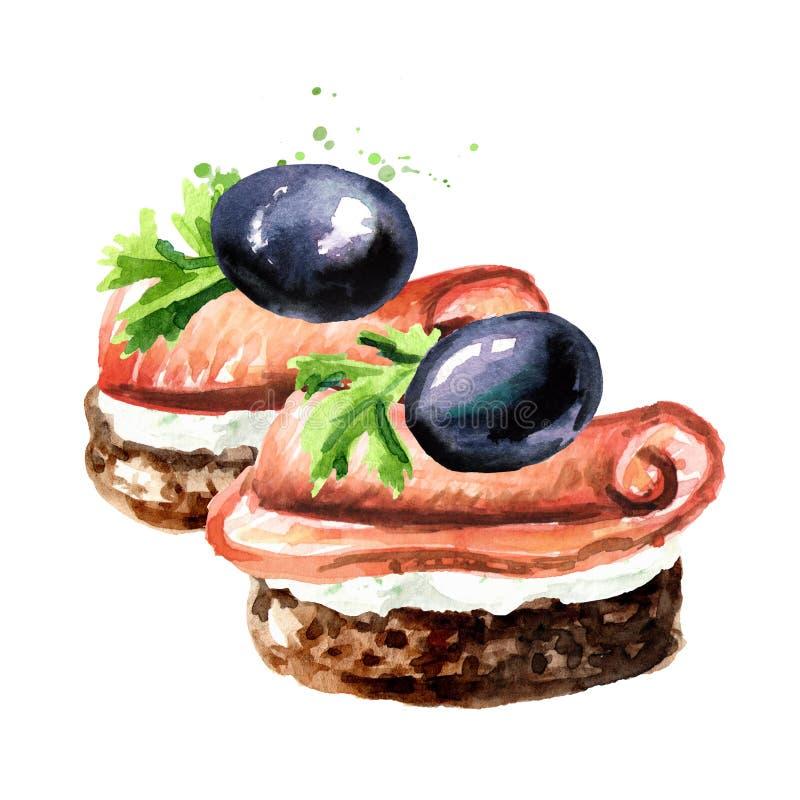 Aperitivo per una tavola festiva Mini canape con il prosciutto e le olive Illustrazione disegnata a mano dell'acquerello isolata  royalty illustrazione gratis