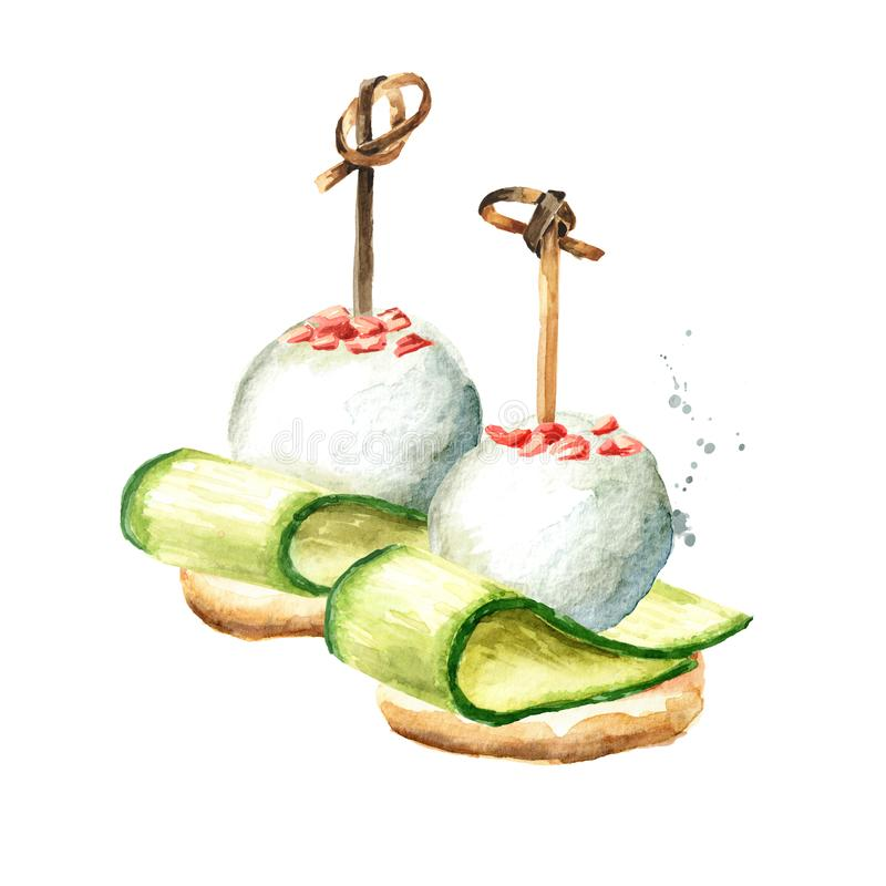 Aperitivo per una tavola festiva Mini canape dalle baguette, dalla fetta sottile di cetriolo e dal formaggio a pasta molle Acquer illustrazione vettoriale