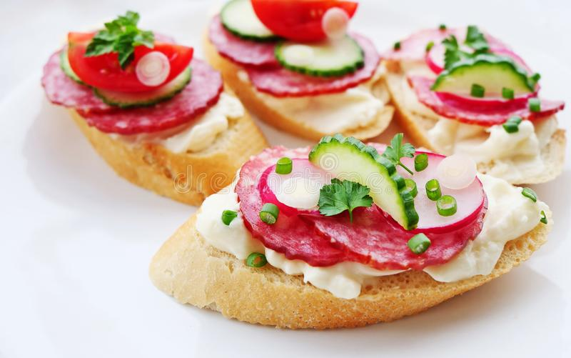 Aperitivos saborosos com queijo e salame sobre o branco fotos de stock royalty free