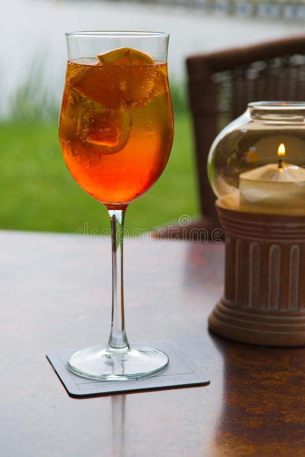 Aperol in a glass. On the table stock photography