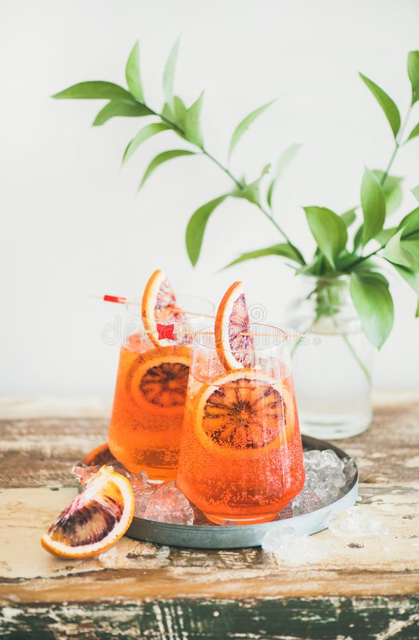 Aperol spritz alcohol cocktail with blood orange royalty free stock photo