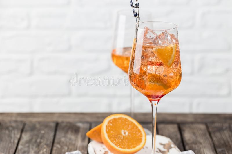 Aperol spritz cocktail. In glass on white background royalty free stock images