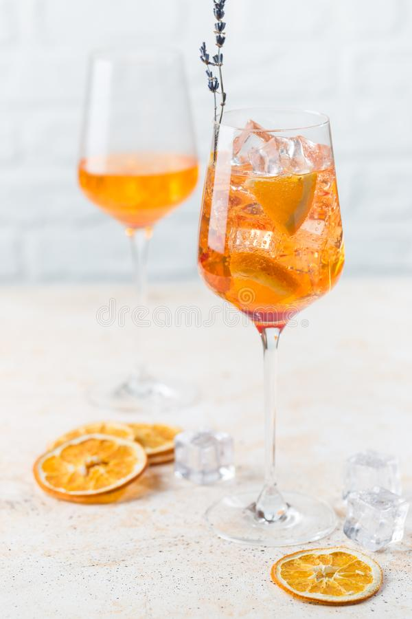 Aperol spritz cocktail. In glass on white background stock photo