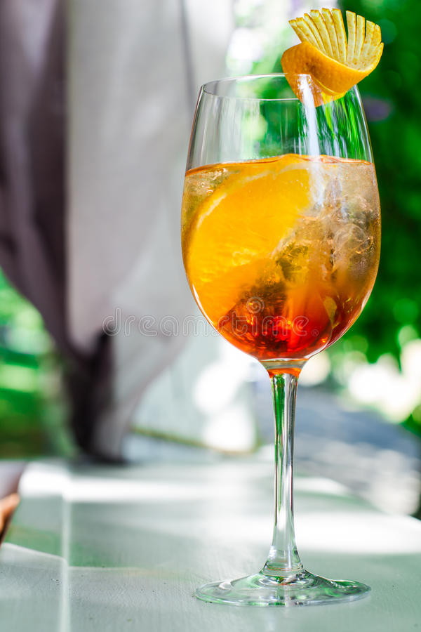 Aperol spritz. Cold alcohol aperol spritz in a glass royalty free stock photos