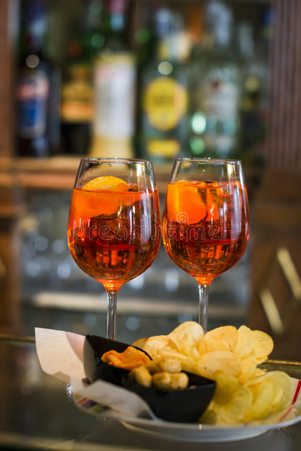 Aperol spritz. On a dark background royalty free stock image