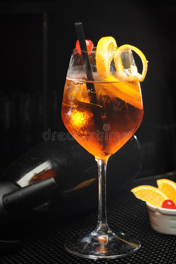 Aperol Spritz. With ice and orange royalty free stock images