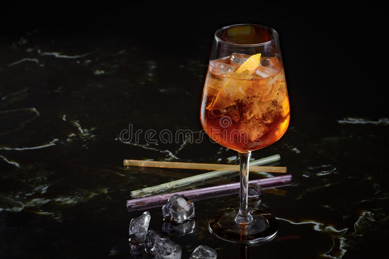 Aperol spritz. With ice on the table stock photo