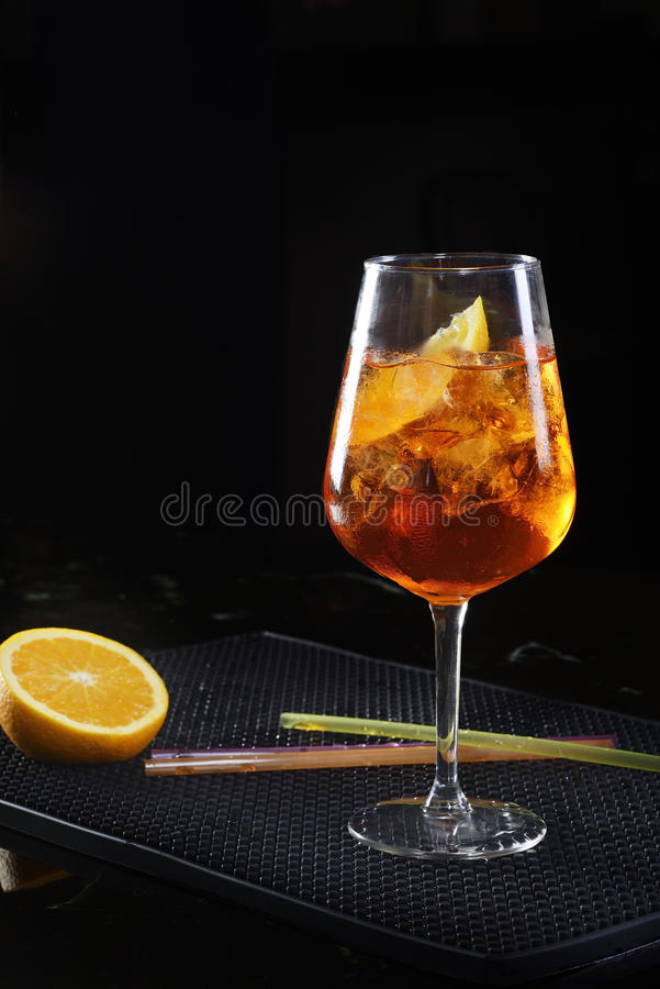Aperol spritz. With ice on the table royalty free stock images