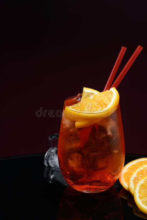 Aperol Spritz. With orange and ice royalty free stock photos