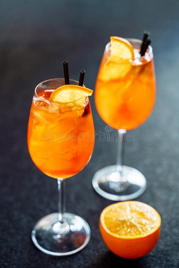 Aperol Spritz Sweet Cocktail Drink with Orange Ice royalty free stock image