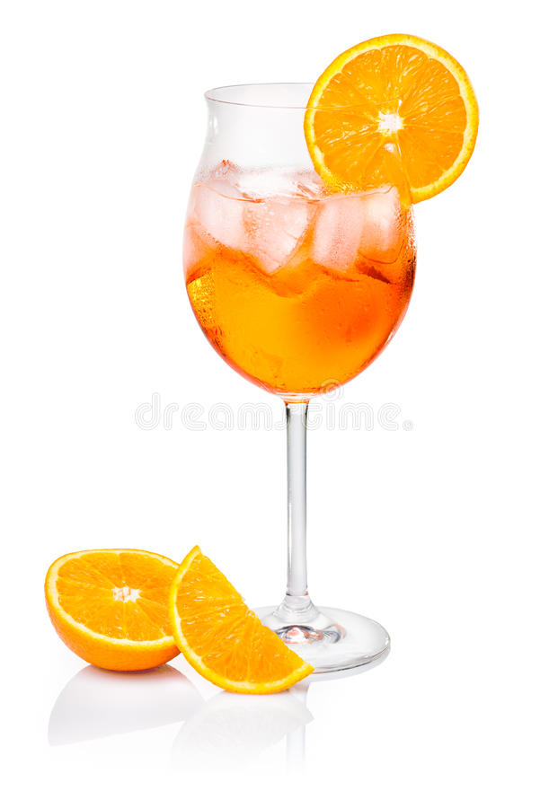 Aperol Spritz in a wine glass. Decorated with an orange slice royalty free stock photos