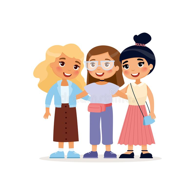Aperto bonito novo de três meninas Personagem de banda desenhada engra?ado ilustração stock