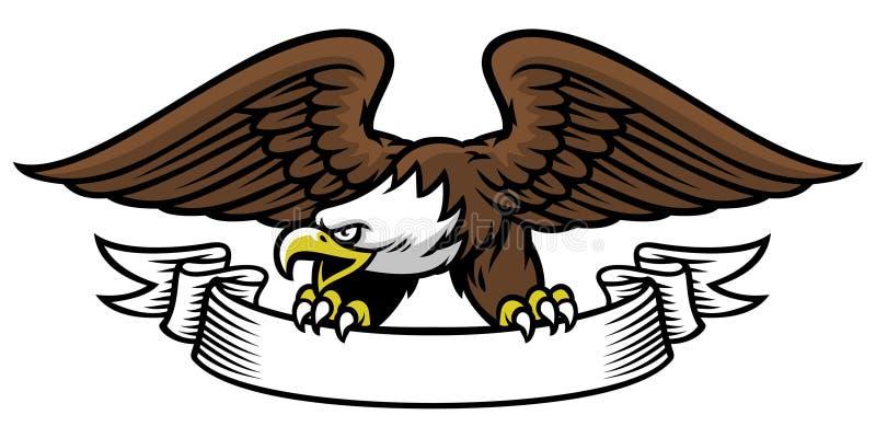 Aperto da mascote de Eagle a fita ilustração stock