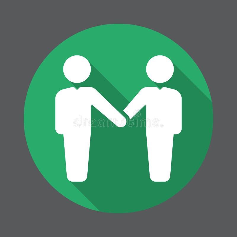 Aperto de mão, ícone liso da parceria Botão colorido redondo, sinal circular do vetor com efeito de sombra longo ilustração do vetor