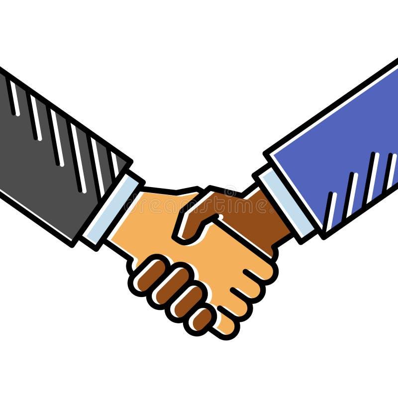 Aperto de mão, acordo, negócio de negócio, linha conceptiva limpa simples ilustração do vetor da arte ilustração stock