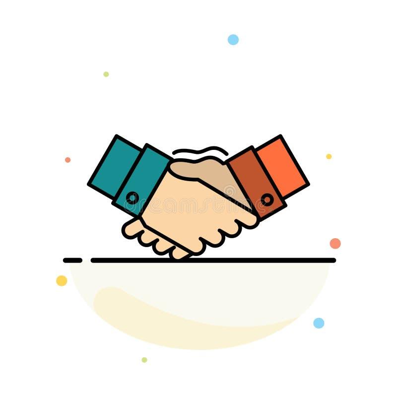 Aperto de mão, acordo, negócio, mãos, sócios, molde liso do ícone da cor do sumário da parceria ilustração royalty free