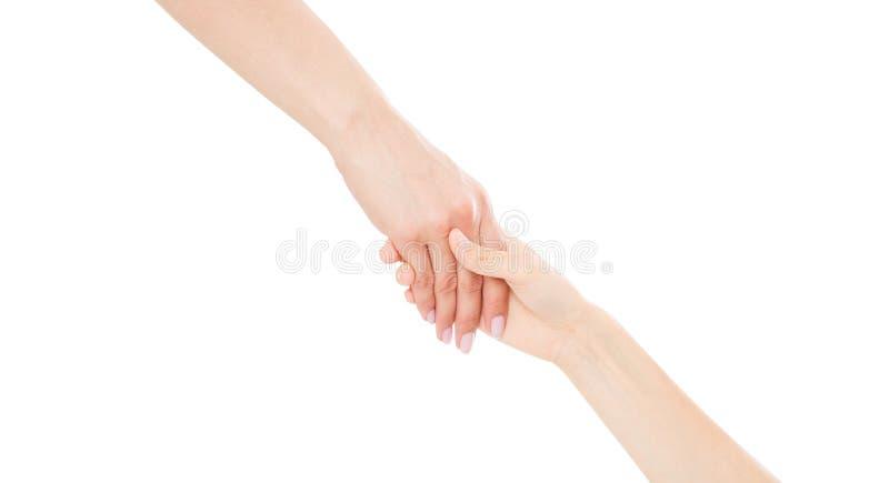 Aperto de mão de ajuda isolado no fundo branco, espaço da cópia, mão fêmea fotos de stock royalty free