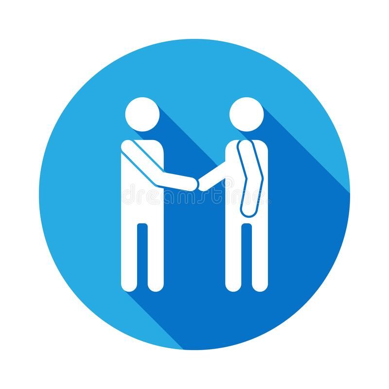 Aperto de mão amigável do ícone de duas silhuetas com sombra longa Os sinais e os símbolos podem ser usados para a Web, logotipo, ilustração stock