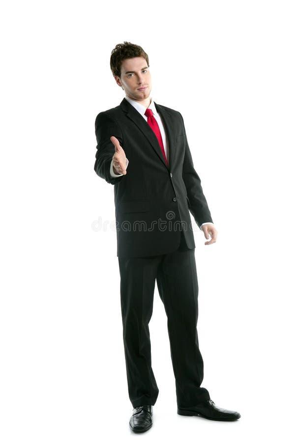 Aperto de mão amigável do homem de negócios cheio do terno do comprimento imagens de stock