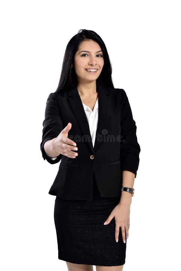 Aperto de mão bonito da mulher de negócios imagem de stock
