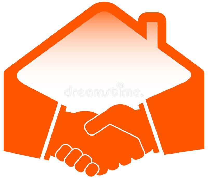 Aperto de mão com ícone do telhado ilustração stock