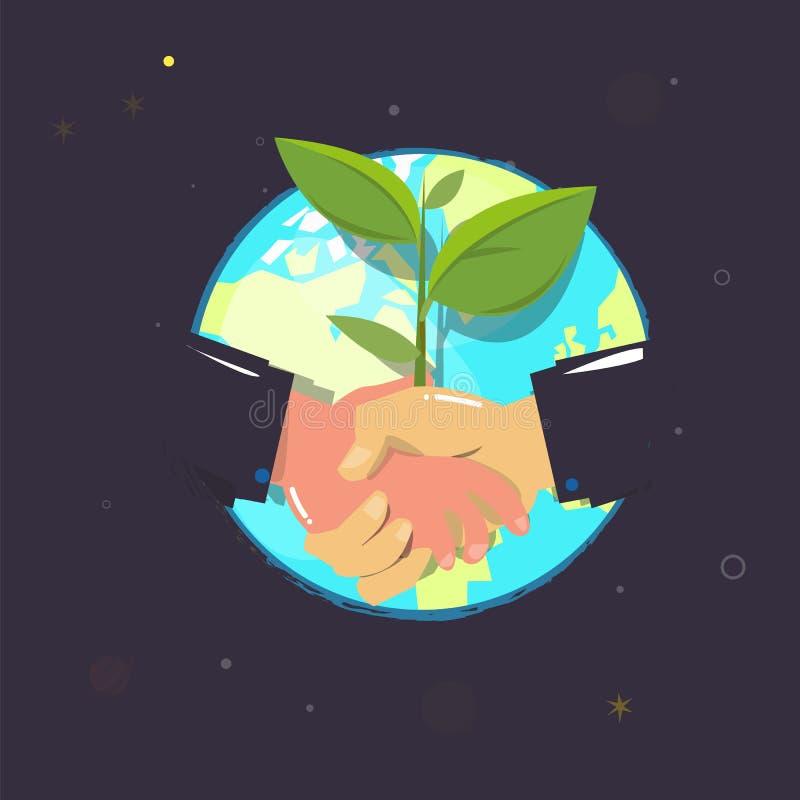 Aperto de mão com planta acordo para nosso mundo Melhor mundo orelha ilustração do vetor