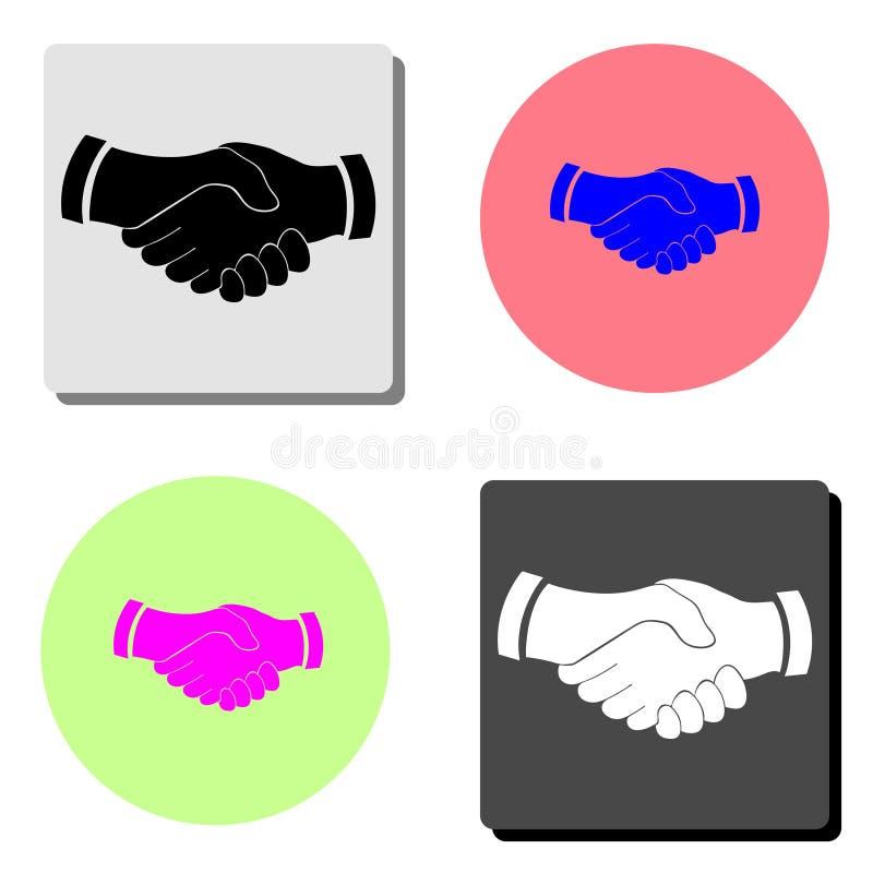 Aperto de mão Mão da agitação do negócio, parceria Ícone liso do vetor ilustração stock