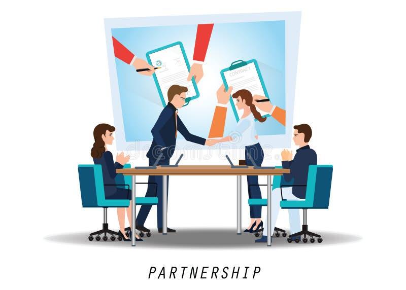 Aperto de mão da parceria do negócio ilustração royalty free