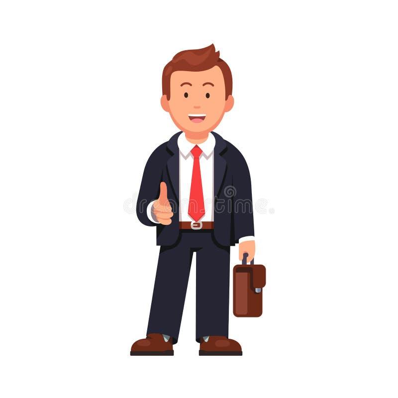 Aperto de mão de oferecimento do homem de negócios ereto ilustração do vetor