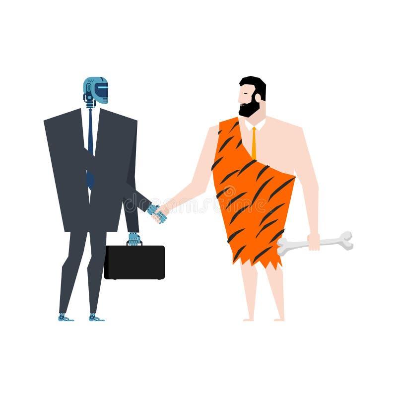 Aperto de mão do homem das cavernas e do Cyborg Robô e contrato pré-histórico do homem Inteligência artificial e homem antigo Ilu ilustração royalty free
