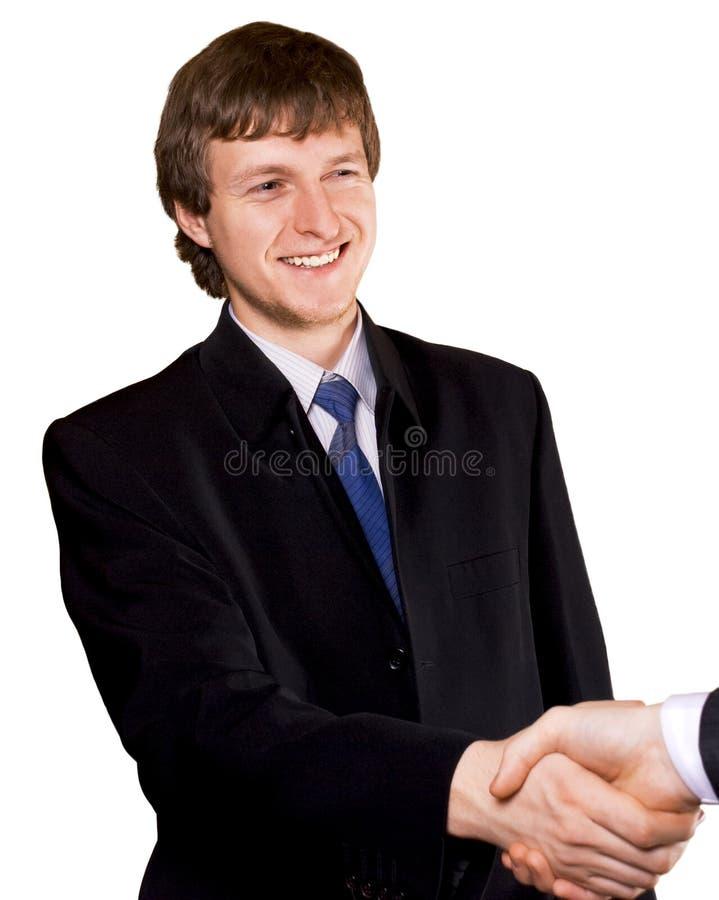Aperto de mão do homem de negócio fotos de stock