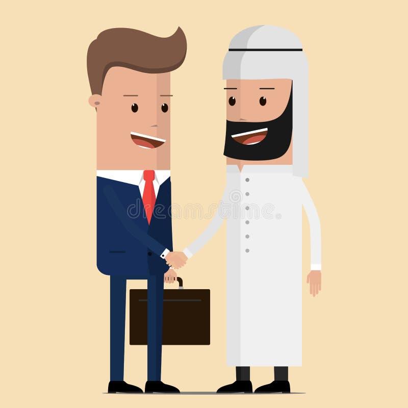 Aperto de mão do negócio de negócio com o homem de negócios árabe e europeu Conceito preto do ouro do óleo Ilustração do vetor ilustração do vetor
