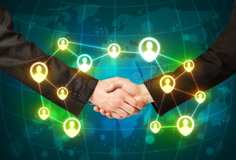 Aperto de mão do negócio, conceito social do netwok foto de stock royalty free